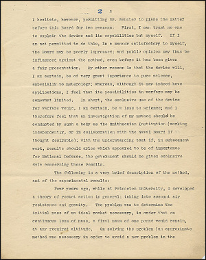 Robert Goddard Proposal - Sept 27, 1916 - Page 2