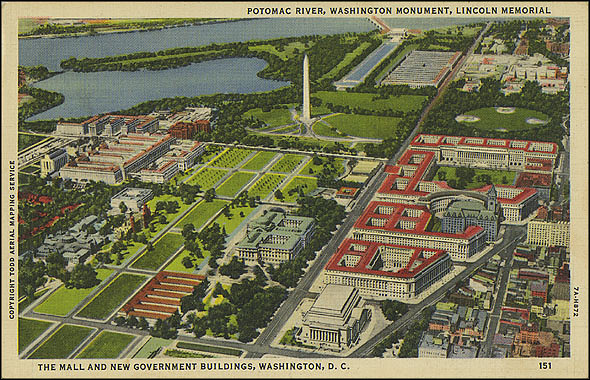 Postcard of the National Mall and New Government Buildings