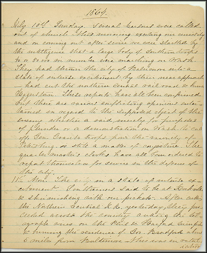 Mary Henry Diary, Southern Army - July, 1864 - Page 1