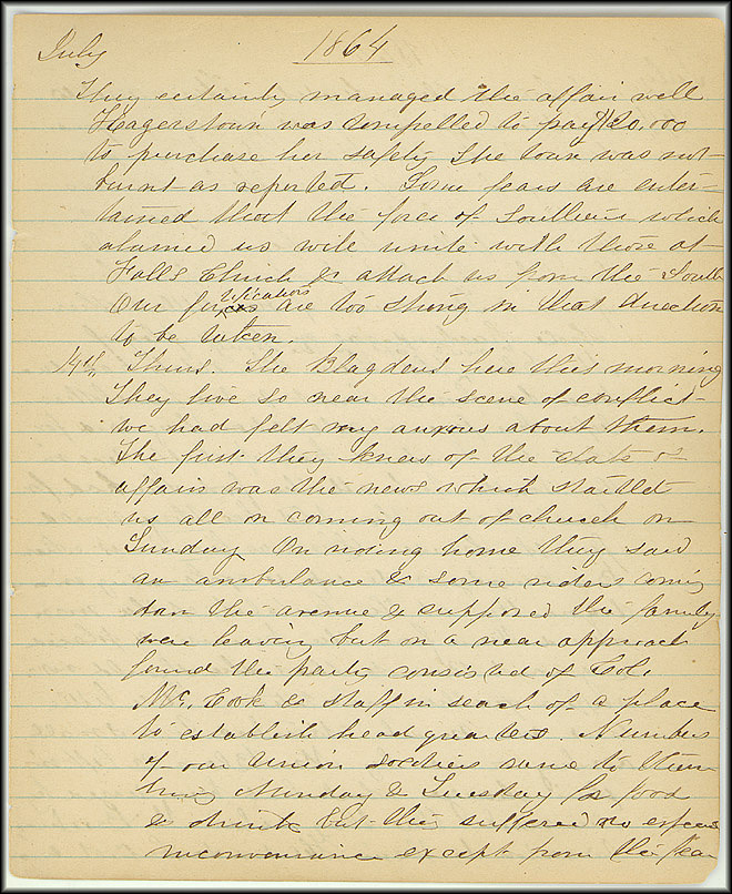 Mary Henry Diary, Southern Army - July, 1864 - Page 7