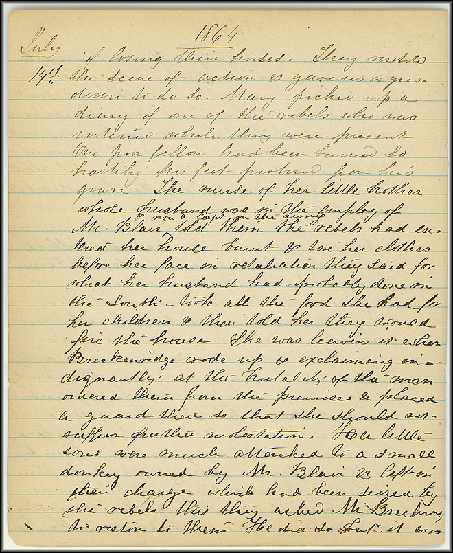 Mary Henry Diary, Southern Army - July, 1864 - Page 8