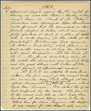 Mary Henry Diary, Southern Army - July, 1864 - Page 9