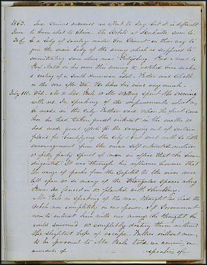 Mary Henry Diary, Gettysburg  - July 1863 - Page 1