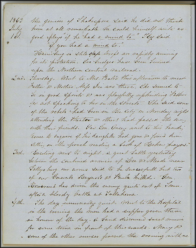 Mary Henry Diary, Gettysburg - July 1863 - Page 2