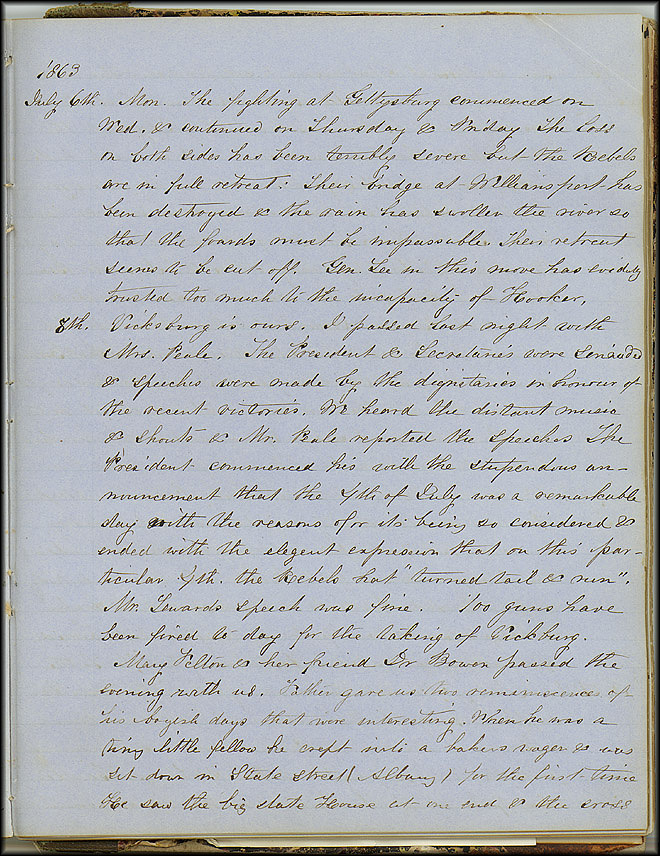 Mary Henry Diary, Gettysburg - July 1863 - Page 3