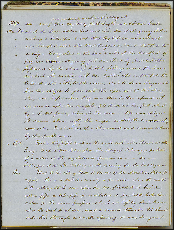 Mary Henry Diary, Ironclad - Nov 20, 1863 - Page 1