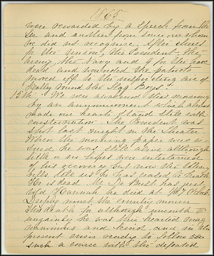 Mary Henry Diary, Lincoln - April, 1865 - Page 1