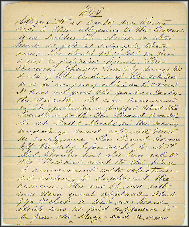 Mary Henry Diary, Lincoln - April, 1865 - Page 2