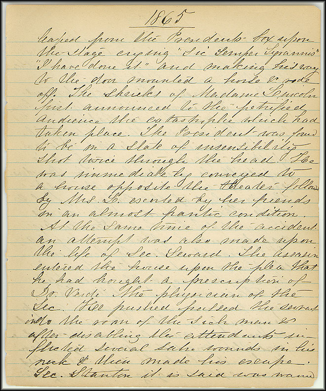 Mary Henry Diary, Lincoln - April, 1865 - Page 3