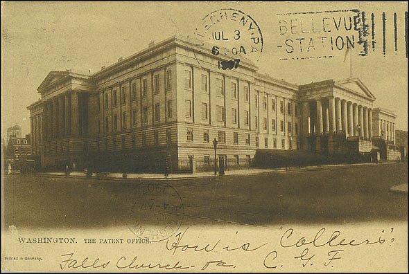 Sepia Postcard of the Patent Office Building, July 3, 1907, Unknown creator, Courtesy of a private collector, No copy available at the Smithsonian Institution Archives, patent1.jpg