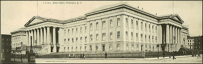 Long Grayscale Postcard of the Patent Office Building, c. 1905, Unknown creator, Courtesy of a private collector, No copy available at the Smithsonian Institution Archives, patent3.jpg