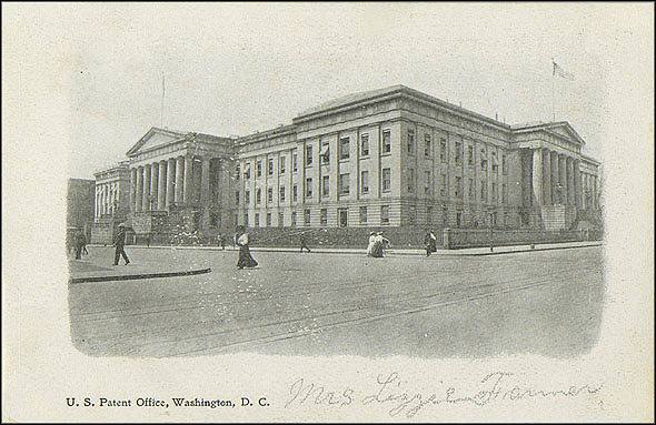 Grayscale Postcard of the Patent Office Building, c. 1898-1901, Unknown creator, Courtesy of a private collector, No copy available at the Smithsonian Institution Archives, patent4.jpg