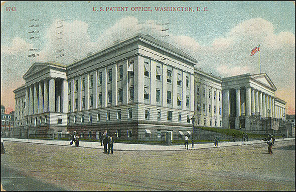 Postcard of the Patent Office Building #9743, July 3, 1908, A.C. Bosselman & Co., Courtesy of a private collector, No copy available at the Smithsonian Institution Archives, patent8.jpg