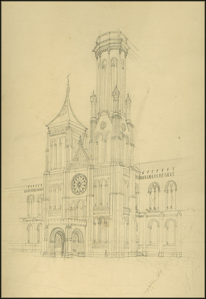 James Renwick - Drawing of the North Tower