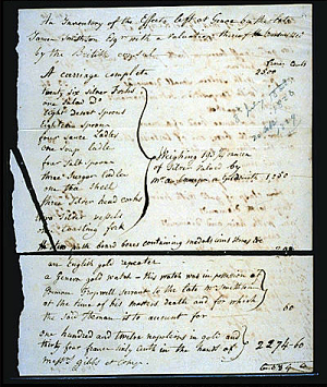 Inventory of James Smithson's Belongings,1829, Page 1