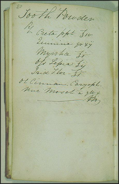 James Smithson Toothpowder Recipe