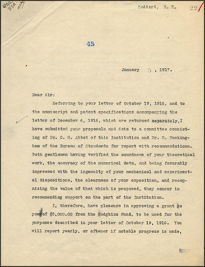 Robert Goddard Letter - Jan 5, 1917 - Page 1