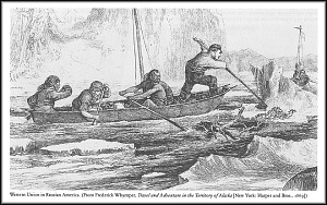 Engraving of men on the Western Union Telegraph Expedition, traveling up an icy river in Russian America, 1860s.