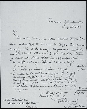 Letter from Levi Woodbury to Nathan Mayer Rothschild, July 18, 1836