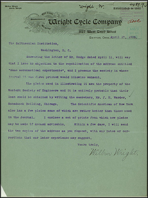 Wright Bros. Letter - April 17, 1903