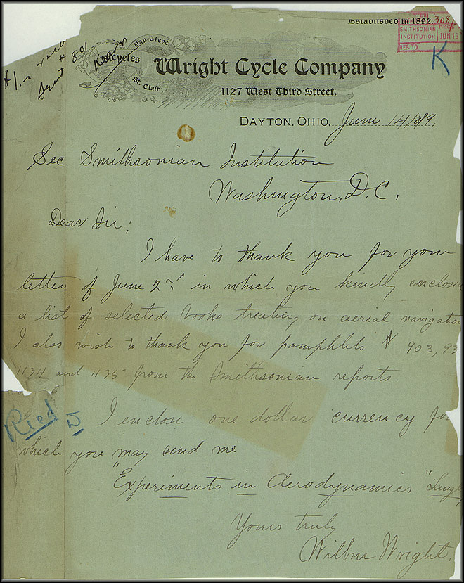 Wright Bros. Letter - June 14, 1899