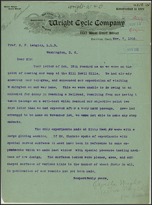 Wright Bros. Letter - Nov 7, 1902