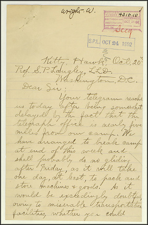 Wright Bros. Letter - Oct 20, 1902 - Page 1