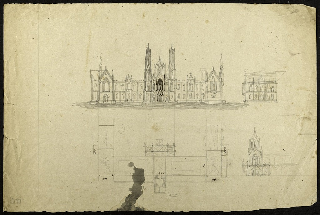 image for Earliest Known Sketches of the Smithsonian Institution Building