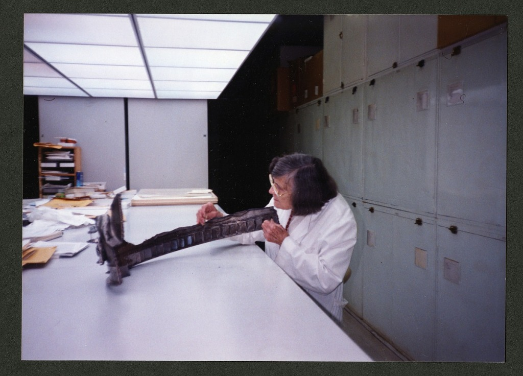 image for Roxie Laybourne Examining Aircraft Part