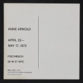 View Fischbach Gallery announcement for exhibition of works by Anne Arnold digital asset: verso
