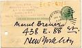 View Alexander Calder postcard to Marcel Breuer digital asset: verso