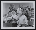 View Photograph Louis Bunce with a model of a mural digital asset number 0