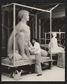 View Brents Carlton doing finishing work on his sculpture <em>Polynesian boy</em> digital asset number 0