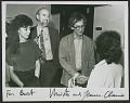 View Jeanne-Claude, Burt Chernow, and Christo at the <em>Wrapped coast</em> exhibition, Westport Connecticut digital asset number 0