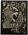 View Wooden bust of Charles Connick before one of his stained glass windows digital asset number 0