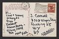 View Lee Bontecou postcard to Joseph Cornell digital asset: postcard back 2