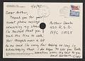 View Cindy Sherman postcard to Arthur Danto digital asset: postcard back 2