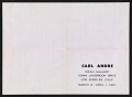 View An exhibition poster featuring a reproduction of Carl Andre's <em>Cuts</em> digital asset: verso