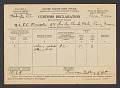 View United States customs declaration for a silver medal, a letter, and a check sent to Frederick Carl Frieseke in Paris by the Corcoran Gallery of Art digital asset: front