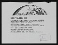 View <em>500 Years of Genocide and Colonialism</em> exhibition announcement to John Held Jr. digital asset number 0