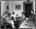 View John and Dolly Sloan and friends in the dining room at Sloan's Santa Fe Ranch digital asset number 0