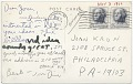 View Jim Dine, Ithaca, N.Y. to Joan Kron, Philadelphia, Pa. digital asset: verso