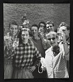 View Photograph of Katharine Kuh and workmen toasting at the U.S. Pavilion at the Venice Biennale digital asset number 0