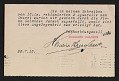 View An entry card from Heinrich Thannhauser of the Moderne Galerie to the Association of American Painters and Sculptors, inc. digital asset: verso