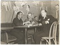 View Abril Lamarque and Xavier Cugat with an unidentified man at a restaurant digital asset number 0