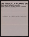 View Sheet of Museum of Normal Art stationery sent from Joseph Kosuth to Lucy Lippard and John Chandler digital asset number 0