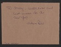 View William Thon Christmas card to Mary Gruskin digital asset: verso