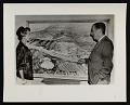View Mrs. Von Hagen and Walt Disney look at rendering of Hollywood Bowl site for Cal Arts digital asset number 0