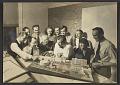 View Eero Saarinen, Eliel Saarinen, Lilian Swann Saarinen and others with model for Detroit Civic Center digital asset number 0