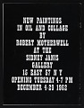 View Sidney Janis Gallery exhibition catalog for <em>New Paintings and Collages by Robert Motherwell</em> digital asset: cover back